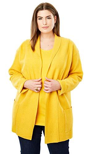 (Jessica London Women's Plus Size Boiled Wool Shawl Collar Jacket - Amber Yellow, 22/24)