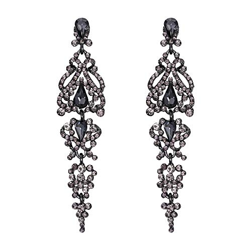 (BriLove Wedding Bridal Dangle Earrings for Women Crystal Cluster Teardrop Earrings Grey Black-Silver-Tone)
