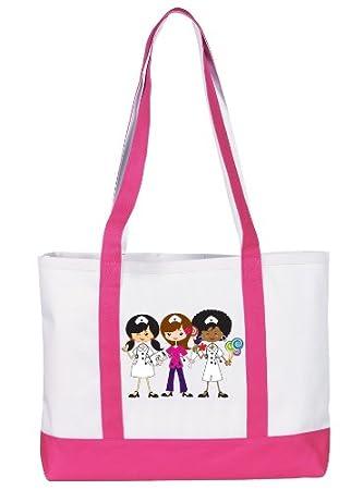 Amazon.com: Prestige Medical Canvas Tote Bag, Nurse Trio Pink ...