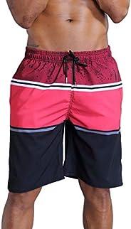 QRANSS Men's Colorful Striped Swim Trunks Beach Shorts with Li
