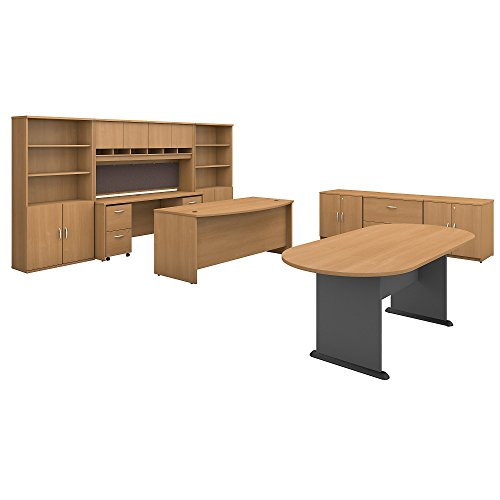 Bush Business Furniture Series C Executive Office Suite with Storage and Conference Table in Light Oak