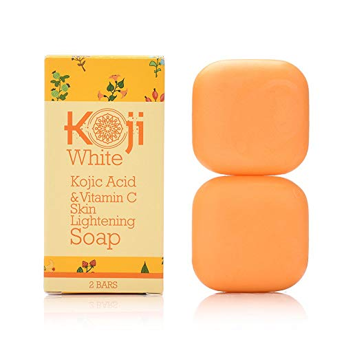 Kojic Acid & Vitamin C Skin Lightening Soap (2.82 oz / 2 Bars) - Natural Brightening & Anti Aging - Reduce Wrinkles, Fades Age Spots, Sun Damage - Smooth And Soft Complexion For Face & Body