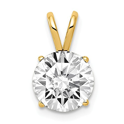 14k Yellow Gold 8mm Cubic Zirconia Pendant Charm Necklace Cz Gemstone Prong Fine Jewelry Gifts For Women For Her