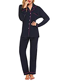 Ekouaer Women's Sleepwear Long Sleeve Pajamas Long Pants Pj Set XS-XXL