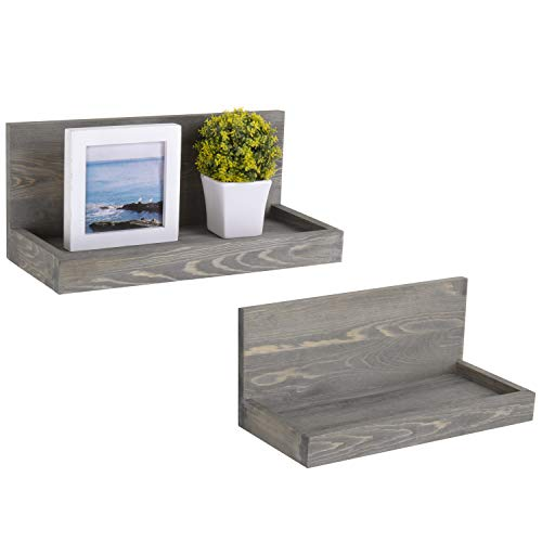 MyGift Rustic Gray Wood 16-inch Wall L-Shaped Shelves, Set of 2