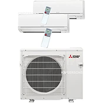 Mitsubishi 27,000 Btu 20 Seer Dual Zone Ductless Mini Split - 9K-18K - Heat Pump System
