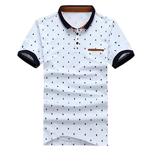 Impercity Polo Shirt Men Cotton Skull Dots Print Polo Summer Short-Sleeve Casual Shirts White ()