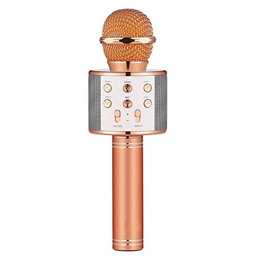 Birthday Gifts for 4-12 Year Old Girls, DIMY Wireless Karaoke Microphone Bluetooth for Kids Toy Microphone Party Favor for Teen Boys Girls Toys Age 4-12 Gifts Toys for Teens Boy Rose Gold DMHK3 by LET'S GO! (Image #1)