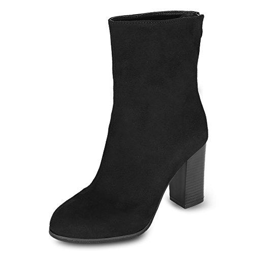 Femme Mi Mode Hiver mollet Botte Taille Hautes Talon Noir Bottines Bloc Haute Rosegal Grande Boots Velours Chic YEwOFE