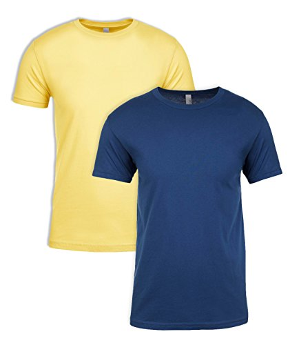 Next Level NL3600 100% Cotton Premium Fitted Short Sleeve Crew 1 Banana Cream + 1 Cool Blue Medium