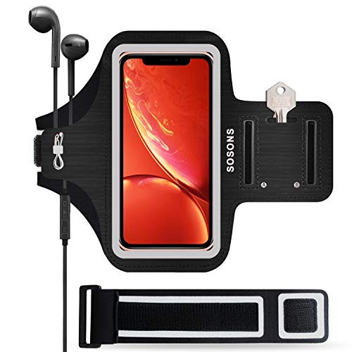 iPhone XR Armband,SOSONS 6.1 Inch Water Resistant Sports Gym Armband Case iPhone XR.Fingerprint Touch Supported Fits Smartphones Slim Case Card Pockets + Extension Strap(Black)
