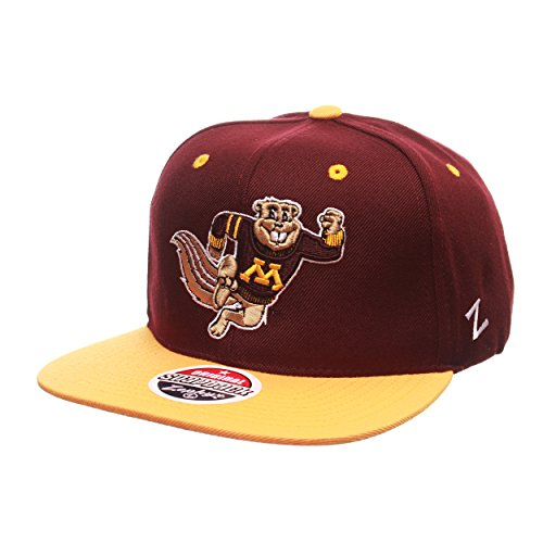 Minnesota Golden Gophers Running Goldy Z11 Adjustable Snapback Cap - NCAA Flat Bill Zephyr Baseball - Wool Minnesota Gophers Golden