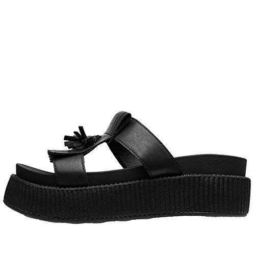 T.U.K. Shoes Womens Limited Edition Black Kiltie Slip On Sandal Black