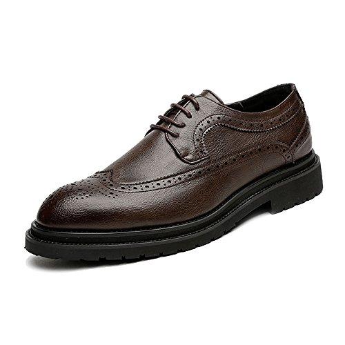 Suela Jialun De Hombres Zapatos zapatos Transpirable Oxfords Simples Con Decoración Fuerte Los Superior Negocios Cuero Cordones Wingtip Marrón Pu La rxrqaYwE5