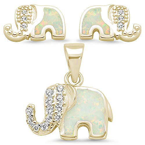 Sterling Silver Lab Created Blue Opal & Cubic Zirconia Elephant Design Earring & Pendant Set CHOOSE Your Color (Yellow Gold Plated Lab Created White ()