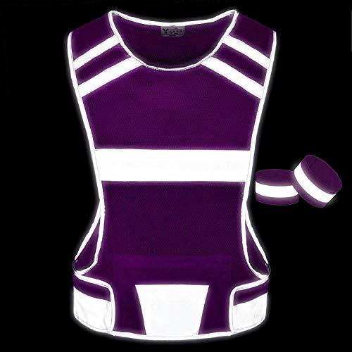 247 Viz Reflective Running Vest Gear | Stay Visible & Safe | Ultra Light & Comfortable Motorcycle Reflective Vest | Large Pocket & Adjustable Waist | Safety Vest | Free Bands (Pink, Medium) by 247 Viz (Image #1)