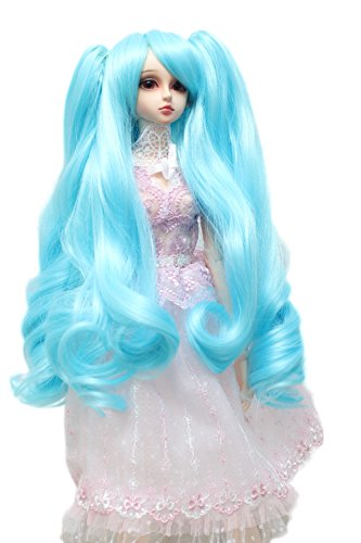 9-10 inch (22-24cm) 1/3 BJD/SD Doll Wig Beautiful Long Curly Hair With 2 Long Spiral Curly Ponytail (Sky Blue)