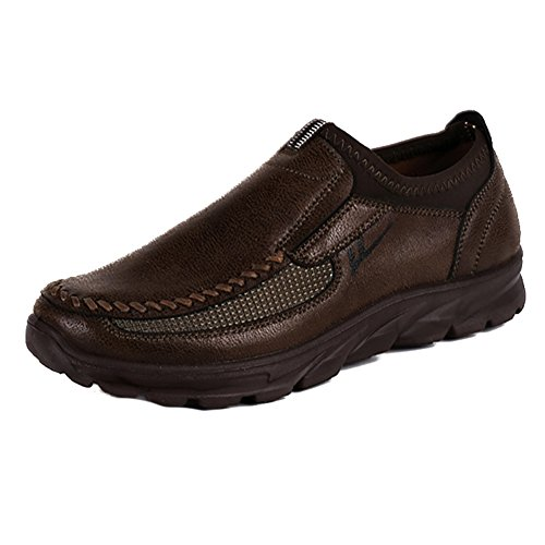 Hibote Mode Hommes Hiver Cuir Casual Chaussures Respirant Mocassins Antidérapants Gris/Brun/Camel