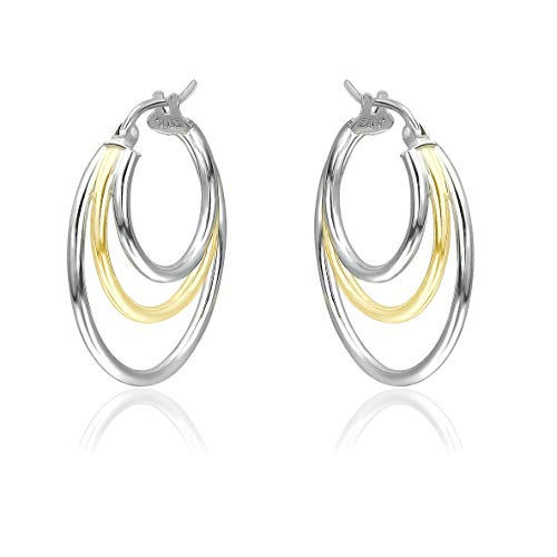 Two Tone Yellow Gold Flashed and Sterling Silver Polished Finish Triple Circle Round-Tube Hoop Earrings, 25mm Diameter.