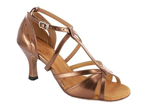 TDA Womens Trendy Design Ankle Wrap Salsa Tango Ballroom Latin Strappy Dance Sandals Brown JzNxb
