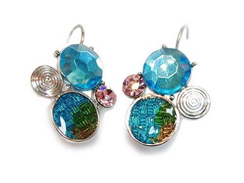 rougecaramel - Bijoux - Boucles d'oreilles dormeuses émail et strass - bleu