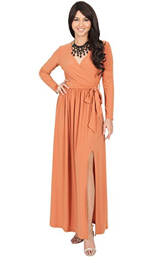 KOH KOH Womens Long Sleeve V-Neck Cross Over High Slit Cocktail Evening Gown Maxi Dress – X-Large, Orange