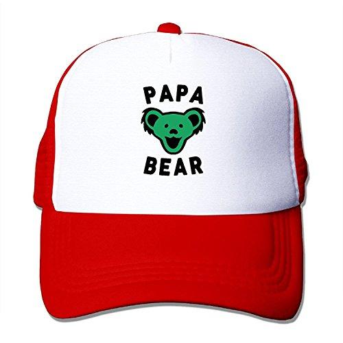 Grateful Dead Bear Flag - Swou Unisex Papa Bear Best Dad Ever Grateful Dead Adjustable Mesh Caps Snapback Hat