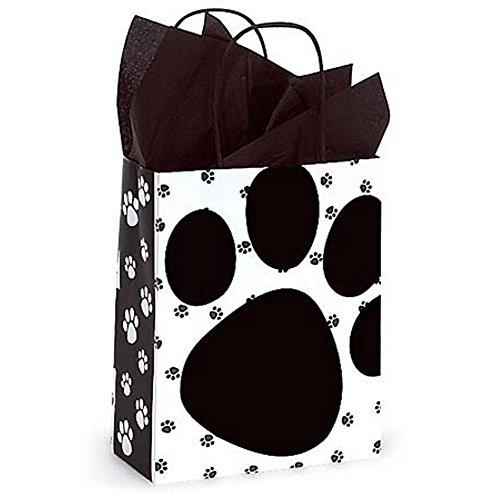 Pooch's Paws Paper Shopping Bags - Cub Size - 8 1/4 x 4 3/4 x 10 1/2in. - 200 Pack by NW