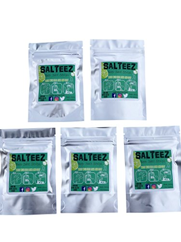Salteez Beer Salt Strips: Real Salt and Lime Strips That Stick to Your Beer Bottle, Can, or Cup - 5 Packs (50 Strips Total) - For a Perfectly Dressed Beer Anytime Anywhere. Peel It, Stick It, Lick It!