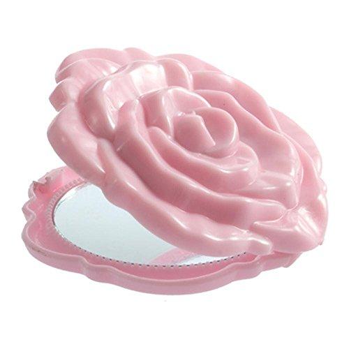 Mirror 3d Pink Retro Rose Flower Shape Leather Cosmetic Women Beauty Make Up - Sunglasses Juno