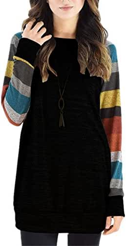 Poulax Women's Cotton Knitted Long Sleeve Lightweight Tunic Sweatshirt Tops