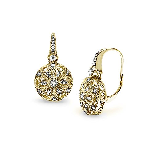 (Yellow Gold Flashed Sterling Silver Round Filigree Diamond Accent Leverback Drop Earrings,)