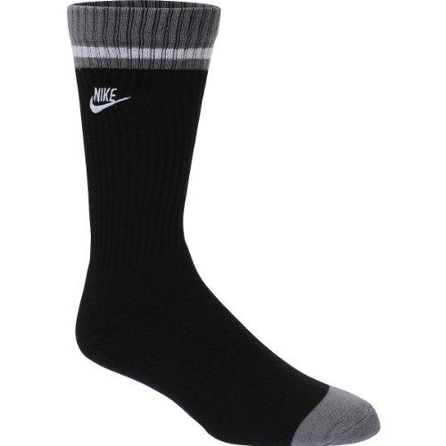 Pair Single - Nike Men's Sportswear Classic Stripe Single Crew 1-Pair Pack Black/Dark Grey/(White) Socks MD (Men's Shoe 6-8)