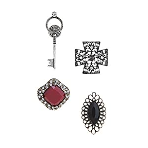 KARMAS CANVAS FAUX GEM CROSS PIN SET