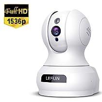 Lefun ネットワークカメラ 1536P 300万画素 防犯監視IPカメラ ベビ...