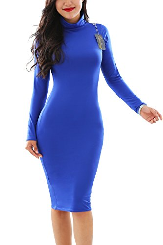 YMING Womens Sexy Long Sleeve Stretch Party Club Bodycon Dresses,Blue,S