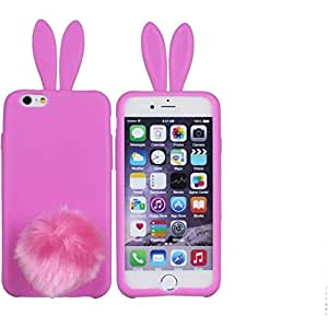 """Thunderous cute furry Rabbit soft silicone protective shell For Apple Iphone 6 Plus 5.5"""" Hot Pink"""