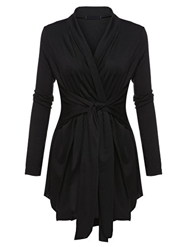 Opino Women's Solid Long Sleeve Front Open Drape Lace Up Belted Cardigan Black/L