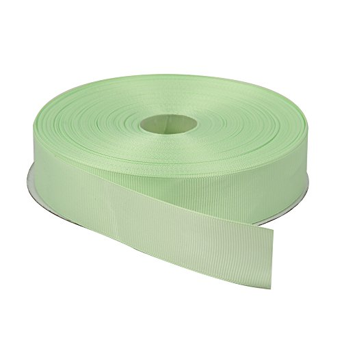 Topenca Supplies 1 Inches x 50 Yards Double Face Solid Grosgrain Ribbon Roll, Light Green