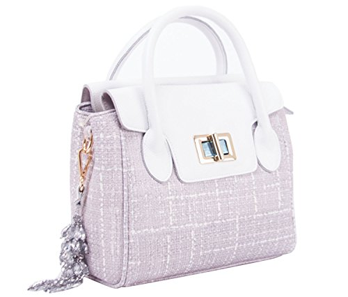 Office Handbags for Women Straw Canvas and Leather Crossbody Bags Shoulder Purse White (Snow White Handbag)
