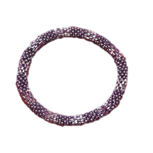 Textured Purple Beaded Bracelet, Czech Seed Beads, Nepal, Crocheted
