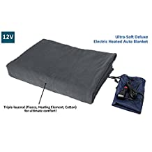 "ObboMed® SH-4210G Ultra-Soft Deluxe Electric 12V Luxurious Comfy Polar Fleece Heated Travel Car Blanket, with Premium Cigarette Lighter Plug for all Vehicle with 12V battery connection, Gray, Size 61"" x 41.3"""