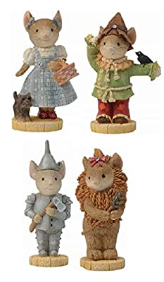 """Enesco Wizard of Oz 2 1/4"""" Mice Collectible Figurines Bundle, Tin Man, Cowardly Lion, Dorothy and Scarecrow"""