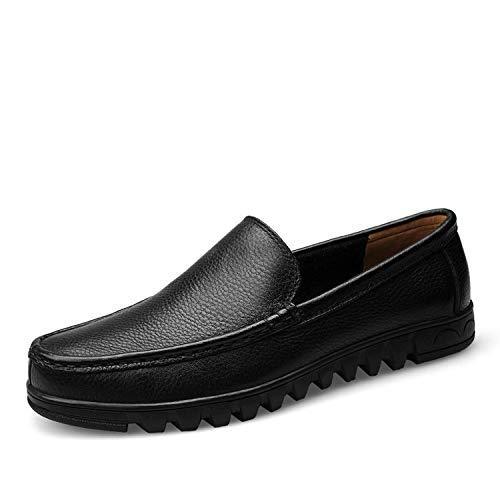 2019 Men Shoes Genuine Leather Black Brown Men Flat Shoes Classic Hand Sewing Men Flats,Black,10