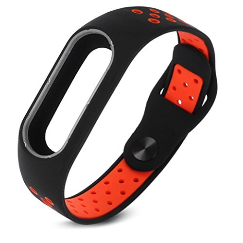 Price comparison product image Smart Wrist Strap, Winhurn Fashion Lightweight Ventilate Wristband For Xiaomi Mi Band 2 (red)