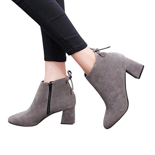 Plataforma Heels de Tacón Gris Cuadrado Botines Botas Martin Botines con Mujer High Botas Manadlian Botas Cordones de con waXqOF