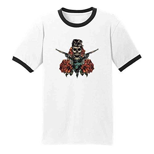 (Pop Threads Civil War Skeleton with Revolvers and Roses Skull White/Black XL Ringer T-Shirt)