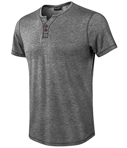 Moomphya Men's Jacquard Knitted Casual Short Sleeve V-Neck Henley T-Shirts (Dark Grey, XX-Large) ()