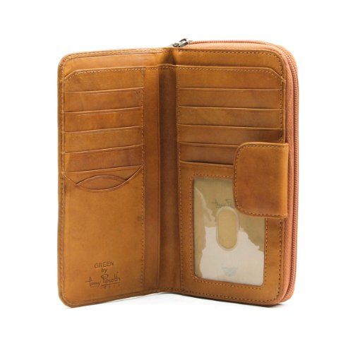 LC Tony Perotti Italian Leather Zip-Around Clutch Wallet with Id Window, Honey (Double Zip Around Checkbook Wallet)