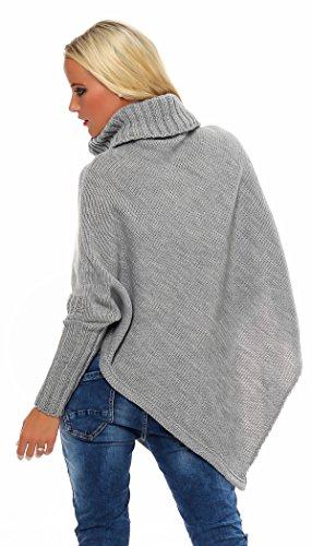 Mississhop, hergestellt in EU - Poncho - Asimétrico - Básico - para mujer gris